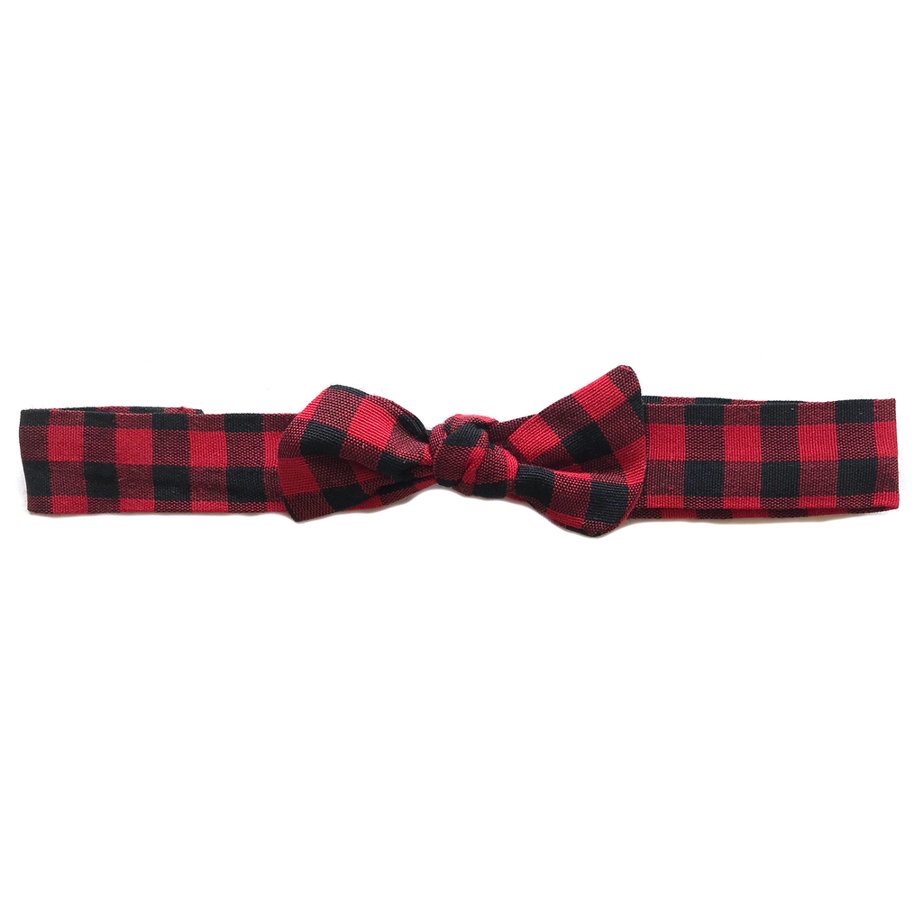 Vintage Headband- Red and Black Buffalo