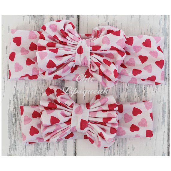 Floppy Bow Headband, White with Light and Dark Pink Hearts