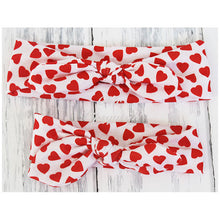 Top Knot Headband, White with Red Hearts