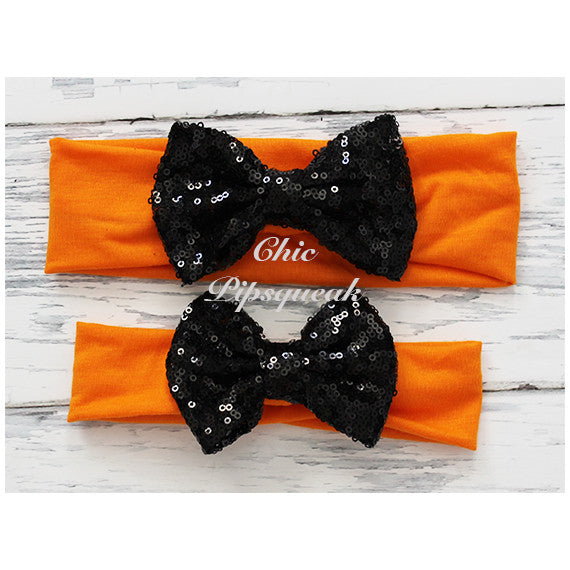 Sequin Bow Headband, Black Bow on Orange