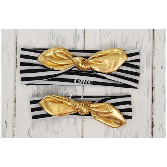 Top Knot Headband, Black and White Stripe with Gold Knot
