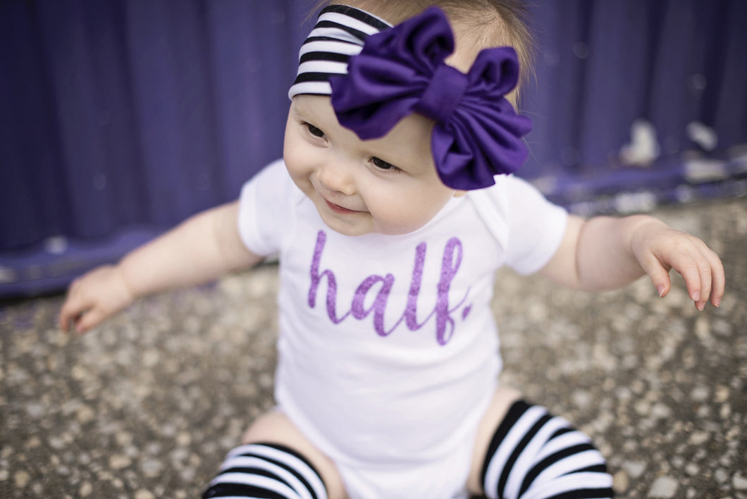 Floppy Bow Headband, Purple on Black and White Stripe
