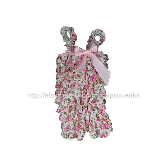 Baby, Toddler and Girls Pink Floral Satin Petti Romper with Cute Flower Embellishment
