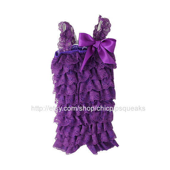 Baby, Toddler and Girls Purple Lace Petti Romper with Cute Purple Flower Embellishment