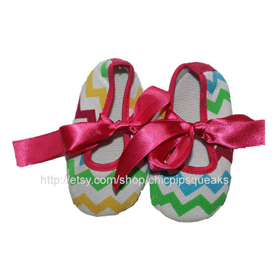 Rainbow Newborn and Baby Chevron Crib Shoes with Pearl Rhinestone Embellishment