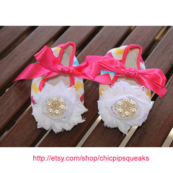 Rainbow Newborn and Baby Chevron Crib Shoes with Flower and Pearl Rhinestone