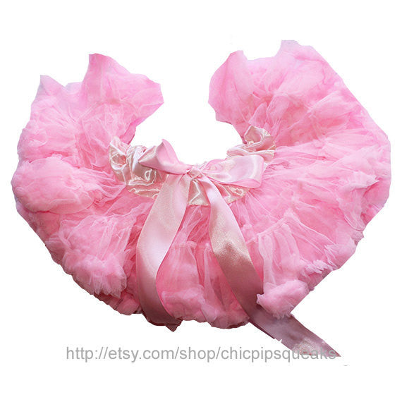 Light Pink Baby and Girls Boutique Fluffy Pettiskirt with Flower Embellishment