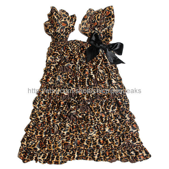 Toddler and Girls Leopard Satin Petti Dress with Ruffles