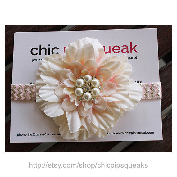 Baby an Kids Pink and Ivory Foil Chevron Headband with White Flower and Pearl Rhinestone, Handmade Headband, Baby Headband,