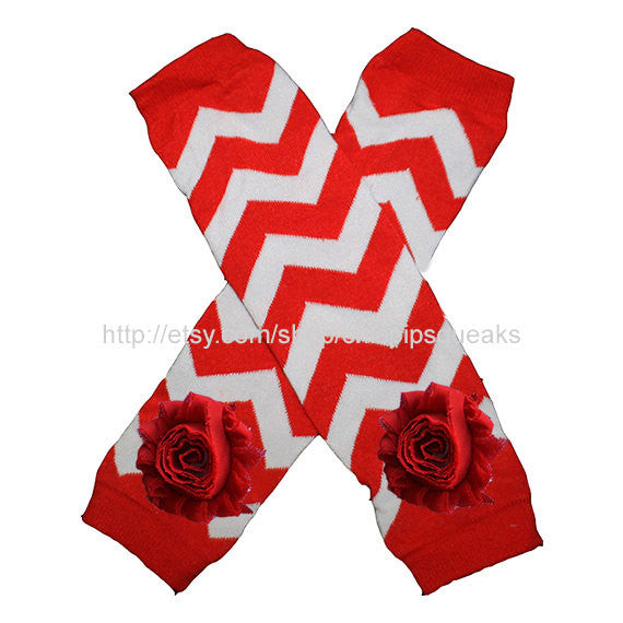 Red and White Baby, Toddler and Kids Chevron Leg Warmers