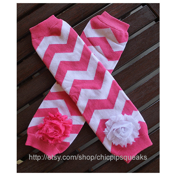 Dark Pink Baby, Toddler and Kids Chevron Leg Warmers with Shabby Flowers, Baby Gift, Leg Warmers, Girls Leg Warmers