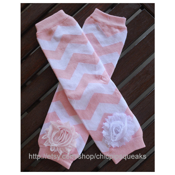 Light Pink Baby, Toddler and Kids Chevron Leg Warmers