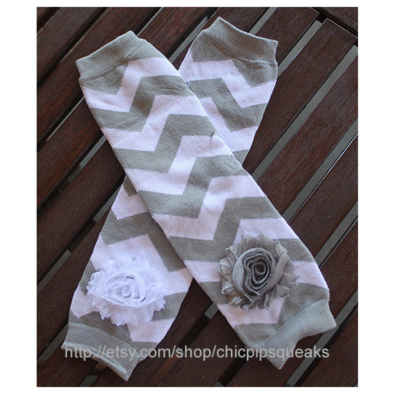 Gray Baby, Toddler and Kids Chevron Leg Warmers
