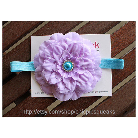 Lavender and Turquoise Headband, Baby Headband, Toddler Headband, Newborn Headband, Lavender Flower Headband, Kids Headband, Baby Gift
