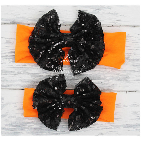 Halloween Sequin Bow Headband, Halloween Floppy Bow Headband, Big Bow Headband, Baby Headband, Baby Headwrap, Top Knot, Top Knot Headwrap