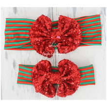 Christmas Sequin Bow Headband, Holiday Floppy Bow Headband, Big Bow Headband, Baby Headband, Bow Headwrap, Top Knot, Top Knot Headwrap, Baby