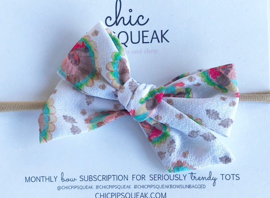 Hand-Tied Bow- Watercolor Turkey