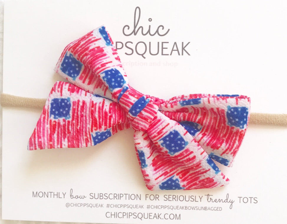 Watercolor American Flag Hand-Tied