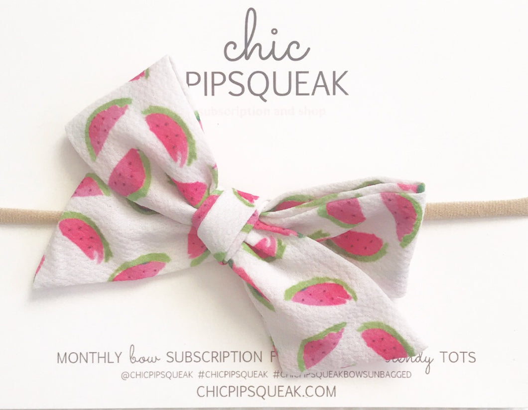 Watermelon Hand Tied Pipsqueak Bow