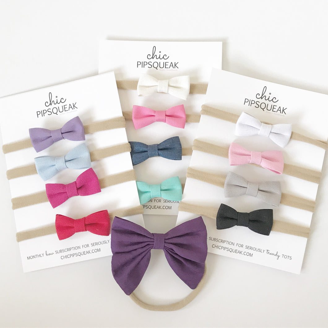 12 Petite Canvas Bow Headbands + Extra Plum Sailor Bow
