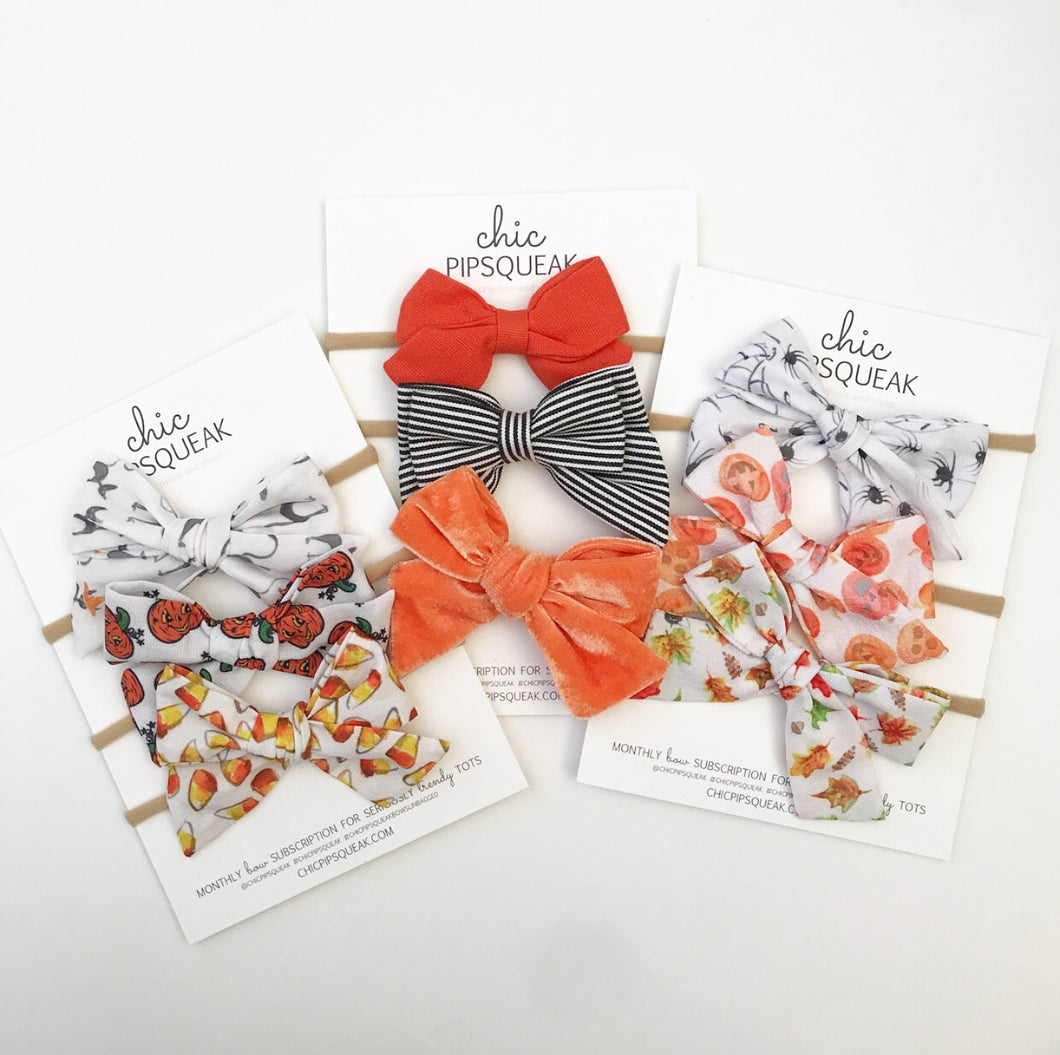 Hand-Tied Bow- Halloween Bundle Nine Pack