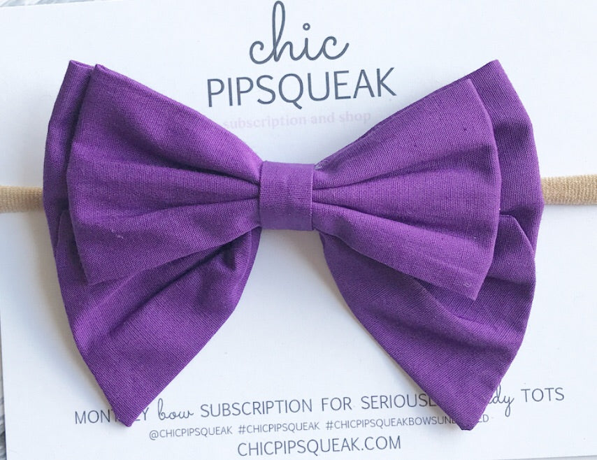 Monthly Special! Oversized Double Sailor Bow- True Purple