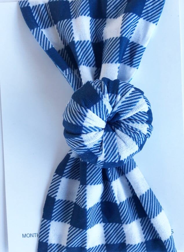 Ballet Bun Nylon Headwrap- Navy and White Buffalo Plaid
