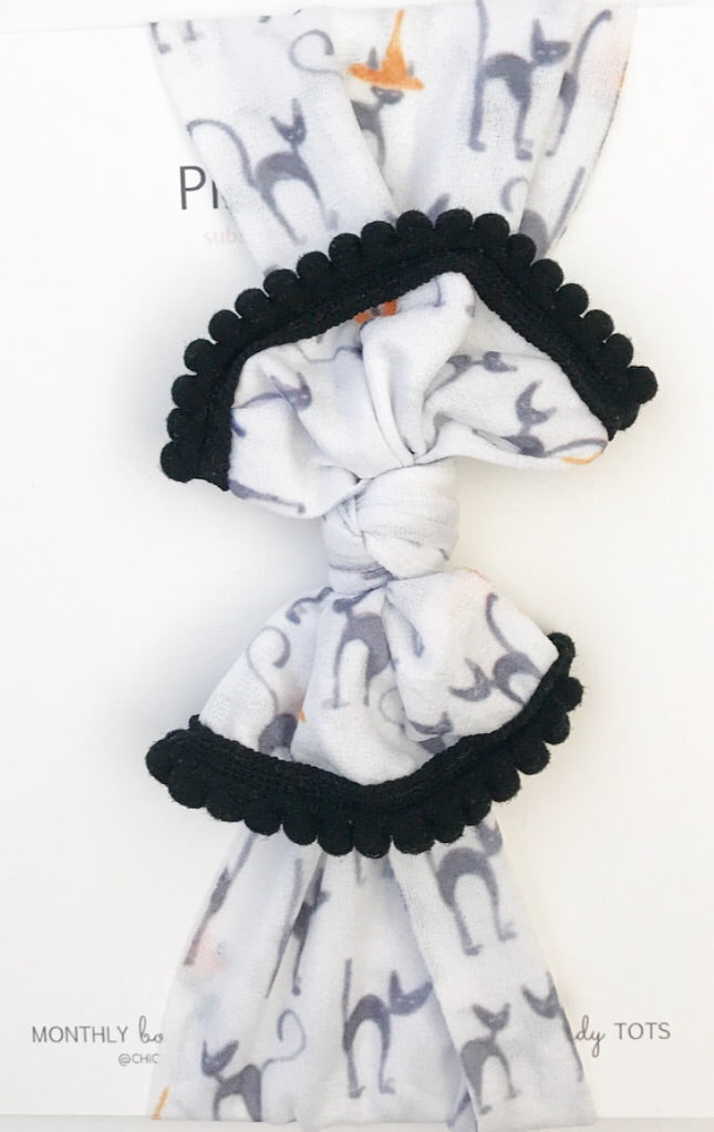 Classic Nylon Headwraps- Black Cats with Black Poms