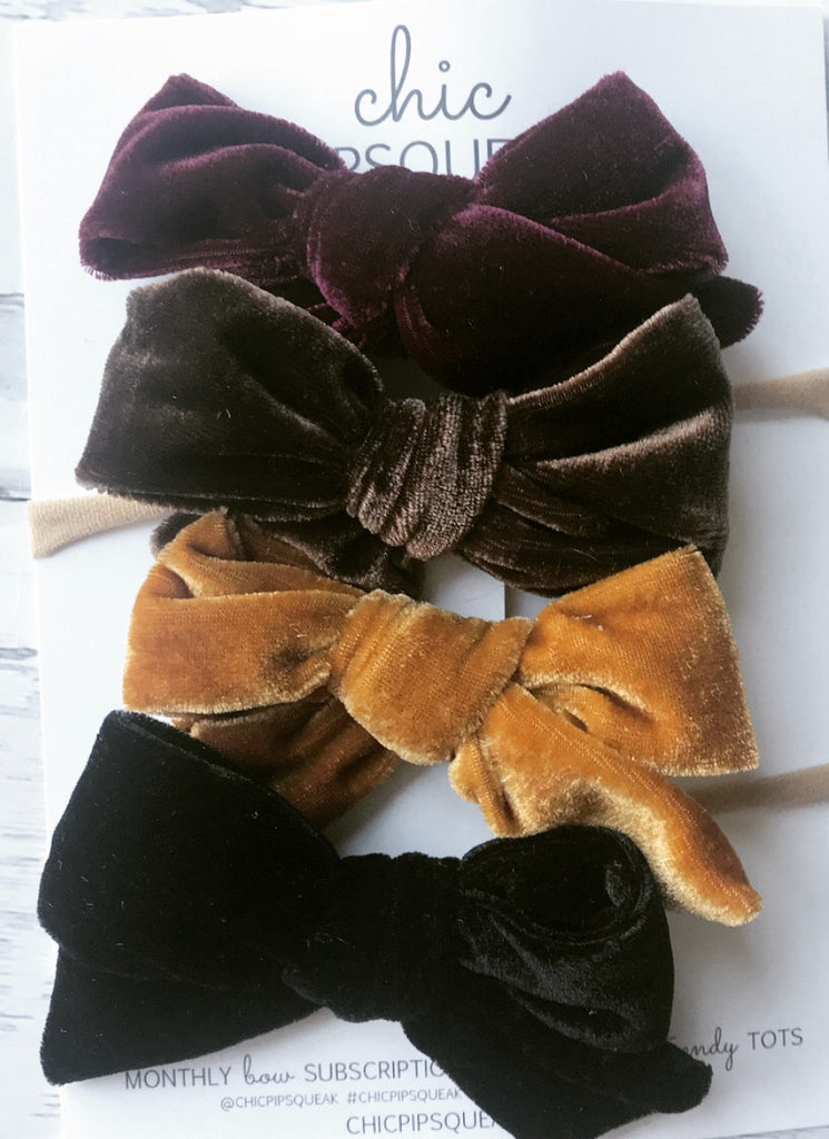 Velvet Hand-Tied Bow Bundle- Wine, Chocolate, Golden and Black