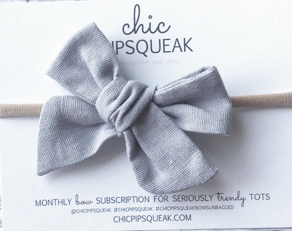 Gray Linen Blend Hand-Tied Bow