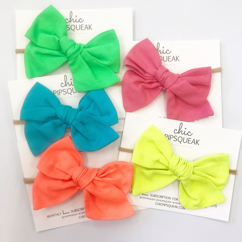 Oversized Hand-Tied Bow- Summer Neons