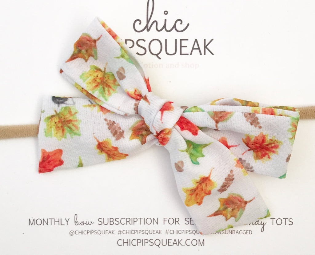 Hand-Tied Bow- Fall Leaves