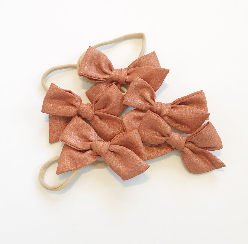 Hand-Tied Bow- Cinnamon Shimmer