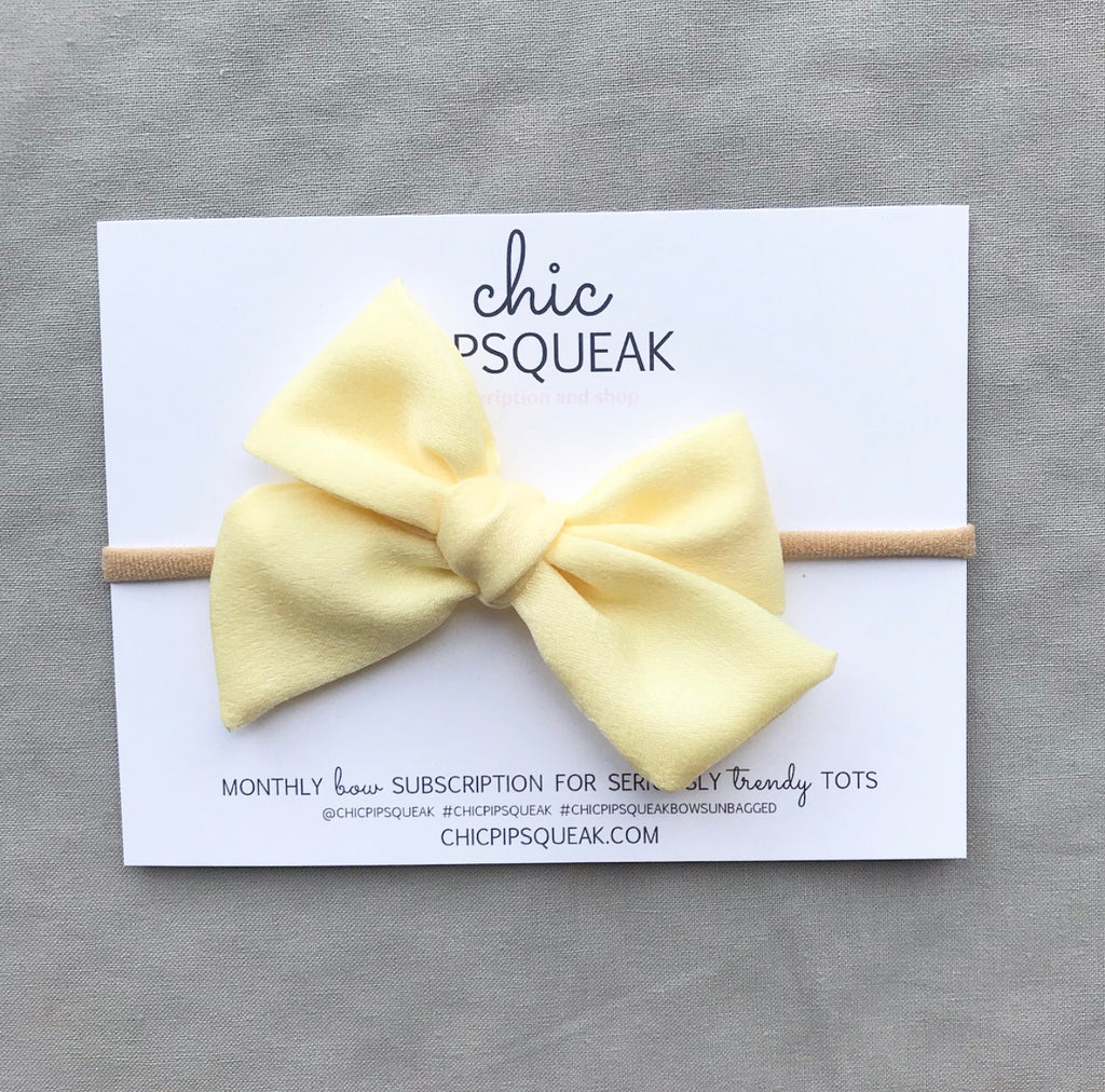Hand-Tied Bow- Satin Pale Yellow