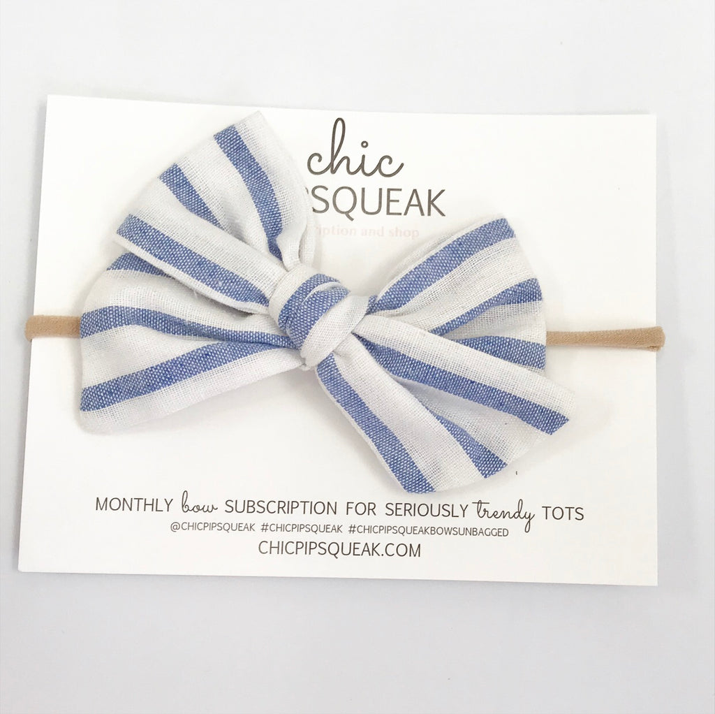 Hand-Tied Bow- Summer Blue Stripe