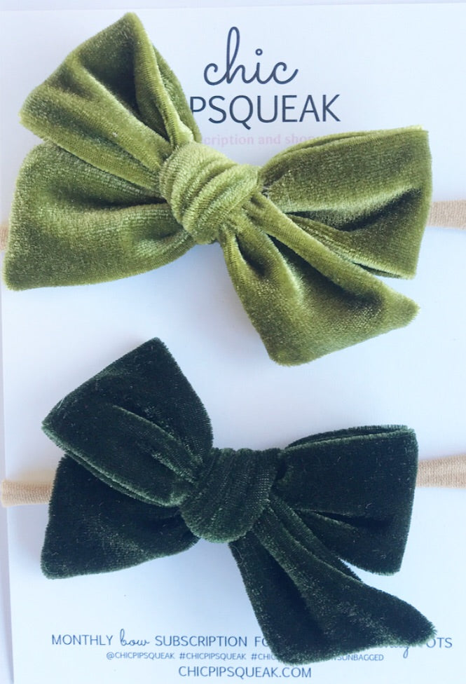Velvet Hand-Tied Bow Bundle- Olive and Hunter Green