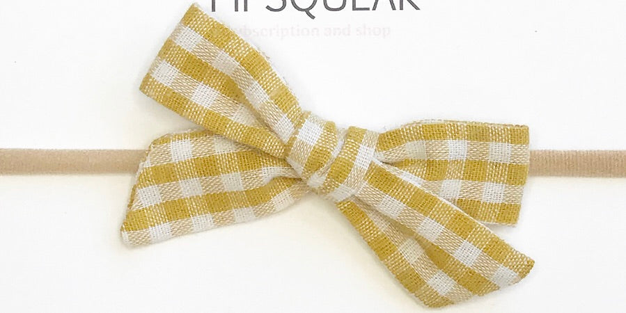 Petite Hand-Tied Bow- Mustard Gingham