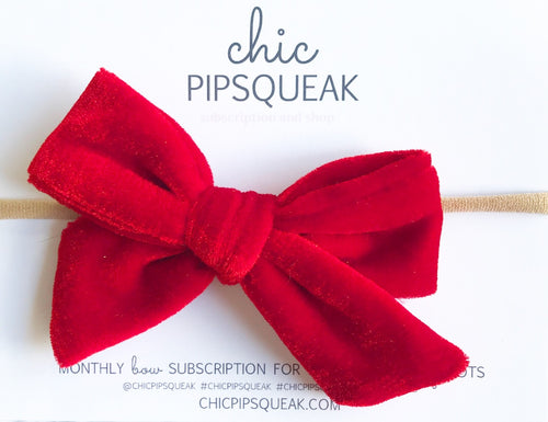 Velvet Hand-Tied Bow- Bright Red