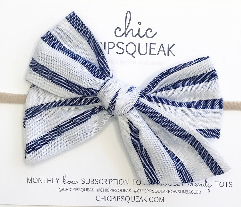 Hand-Tied Bow- Stripe Navy