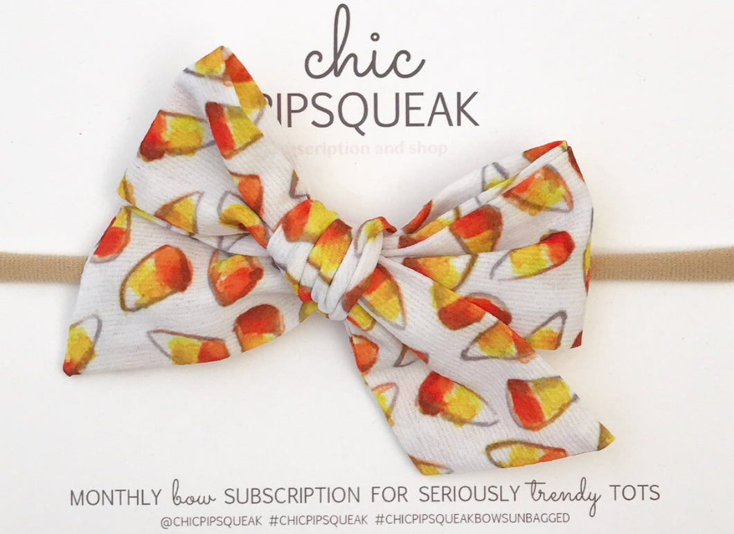 Hand-Tied Bow- Candy Corn