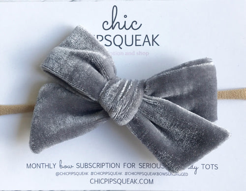 Velvet Hand-Tied Bow- Gray