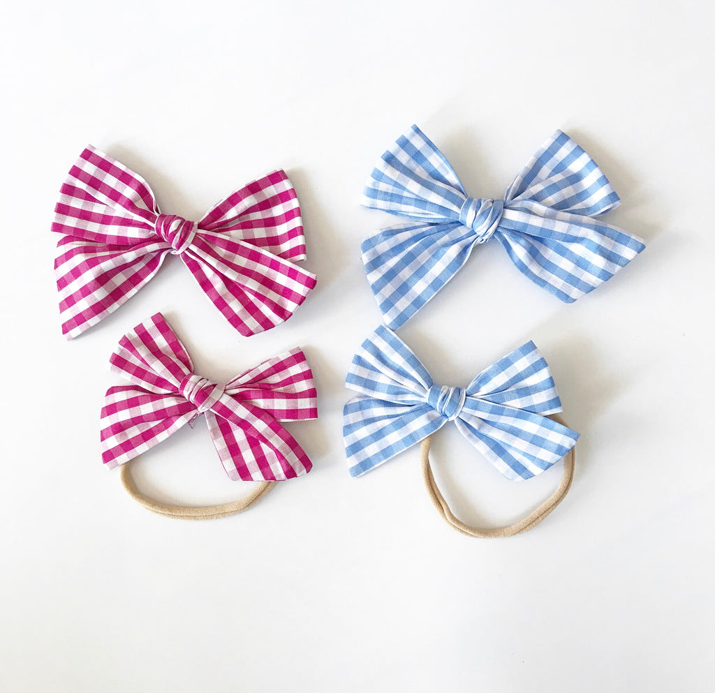 Oversized Hand-Tied Bow- Summer Gingham