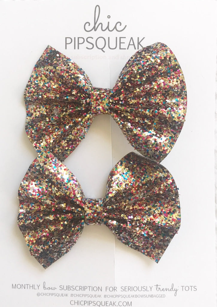 Gold Colorful Glitter Pig Tail Set
