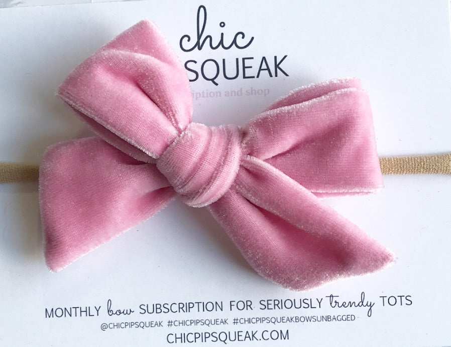 Velvet Hand-Tied Bow- Baby Pink