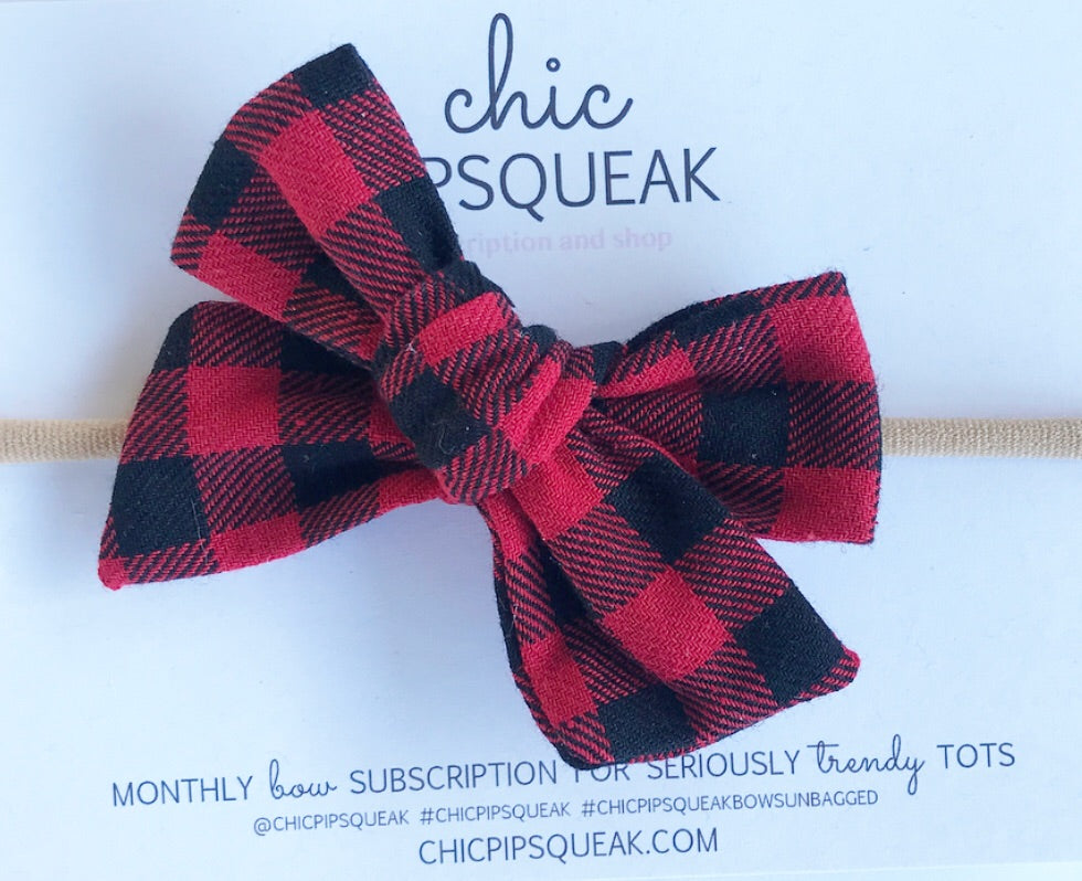 Hand-Tied Bow- Red Buffalo Plaid