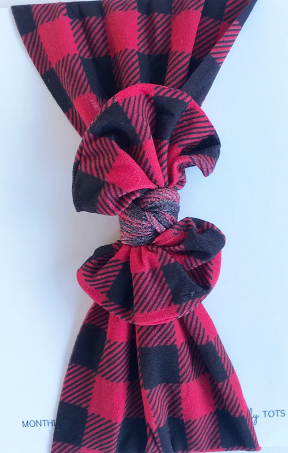 Classic Nylon Headwraps- Red and Black Buffalo Plaid