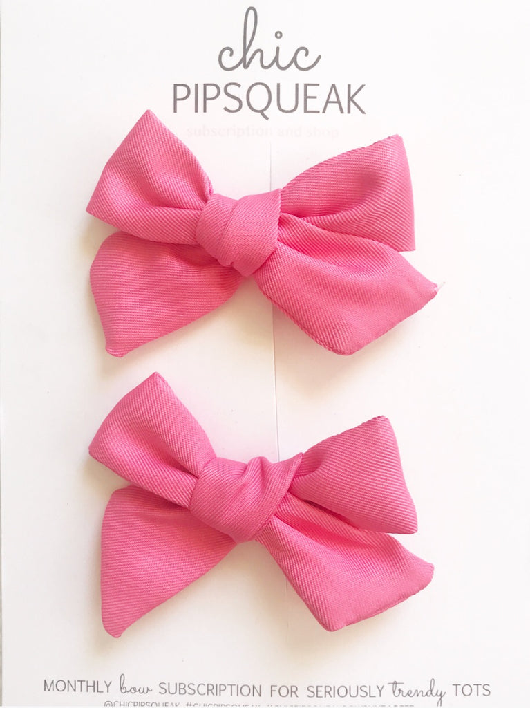 Pink Mini Hand-Tied Pig Tail Set