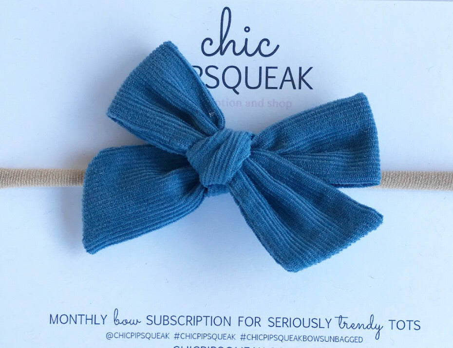 Mini Hand-Tied Bow- Steele Blue