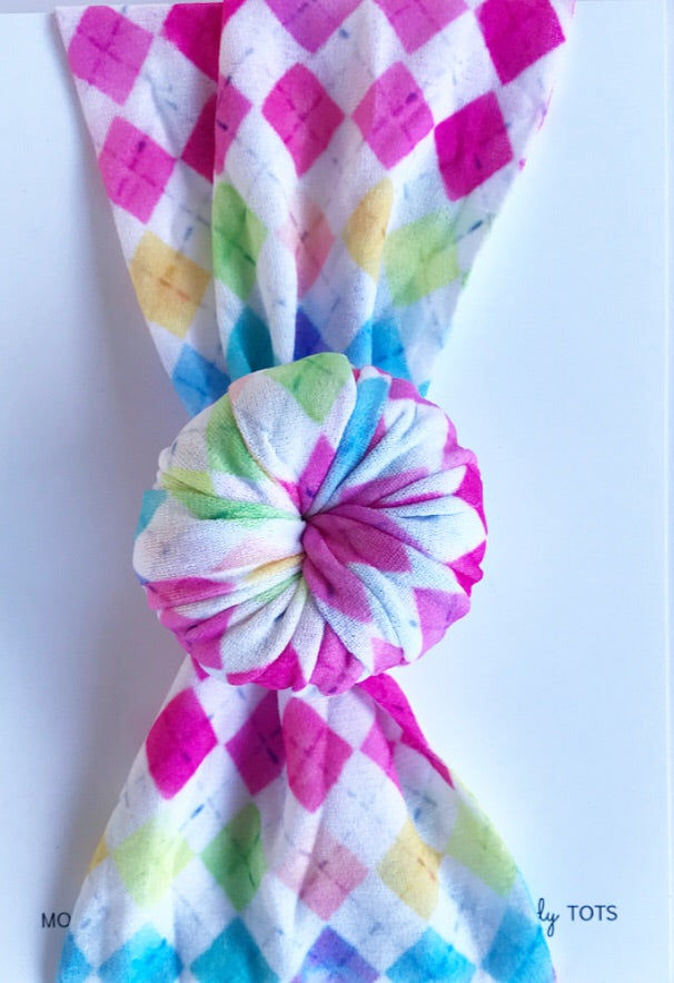 Ballet Bun Nylon Headwrap- Colorful Argyle