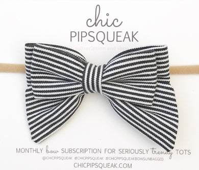 Double Sailor Bow- Black and White Stripe (Medium Size)